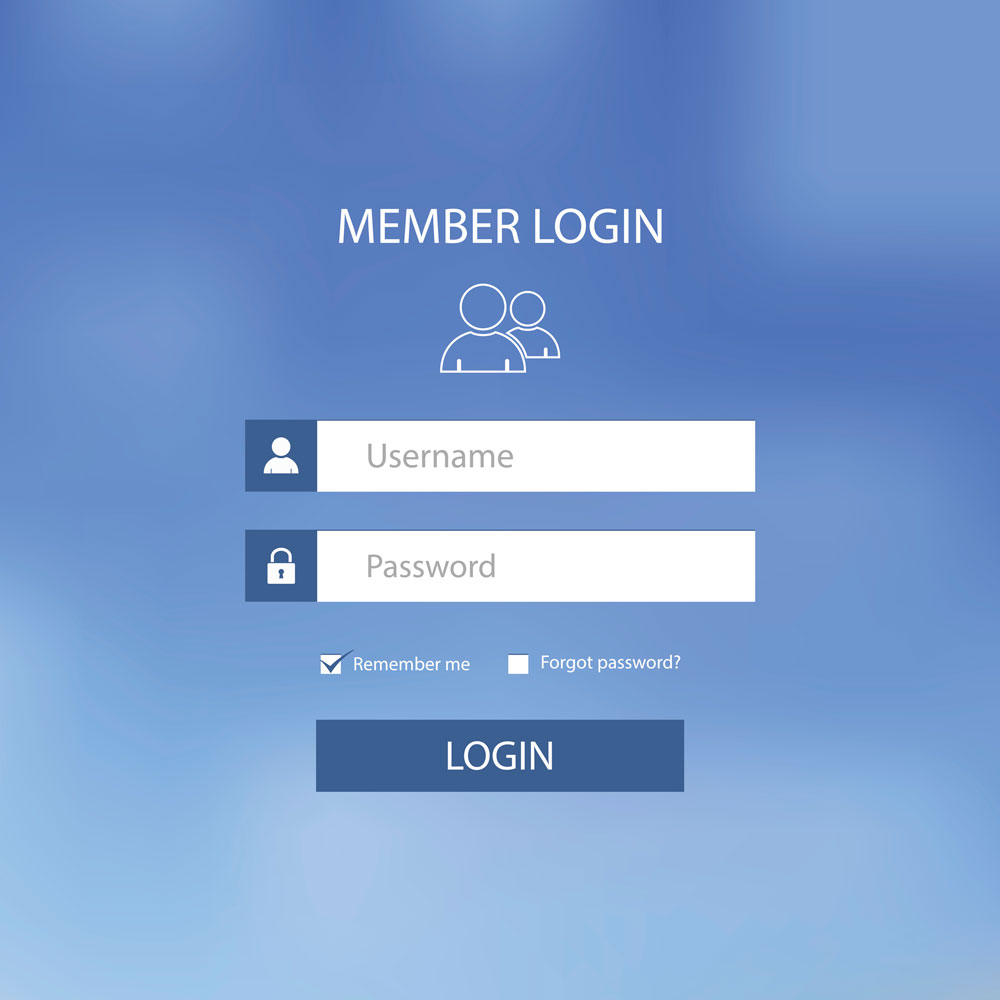 Member login screen