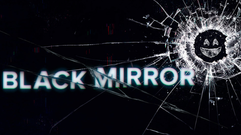 Black Mirror show logo with cracked glass in the corner