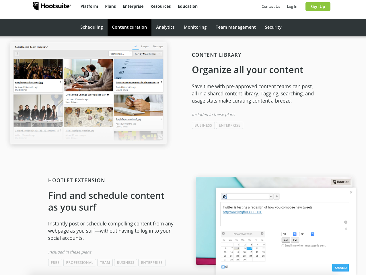 Screenshot of Hootsuite website