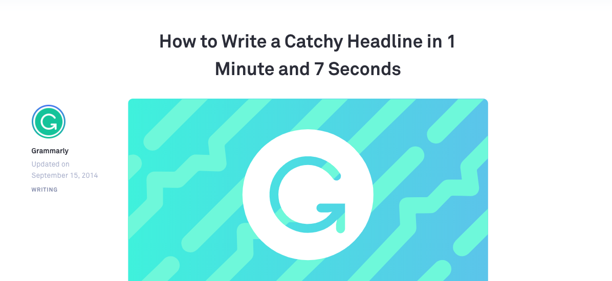 Screenshot of headline that says 'How to Write a Catchy Headline in 1 Minute and 7 Seconds'
