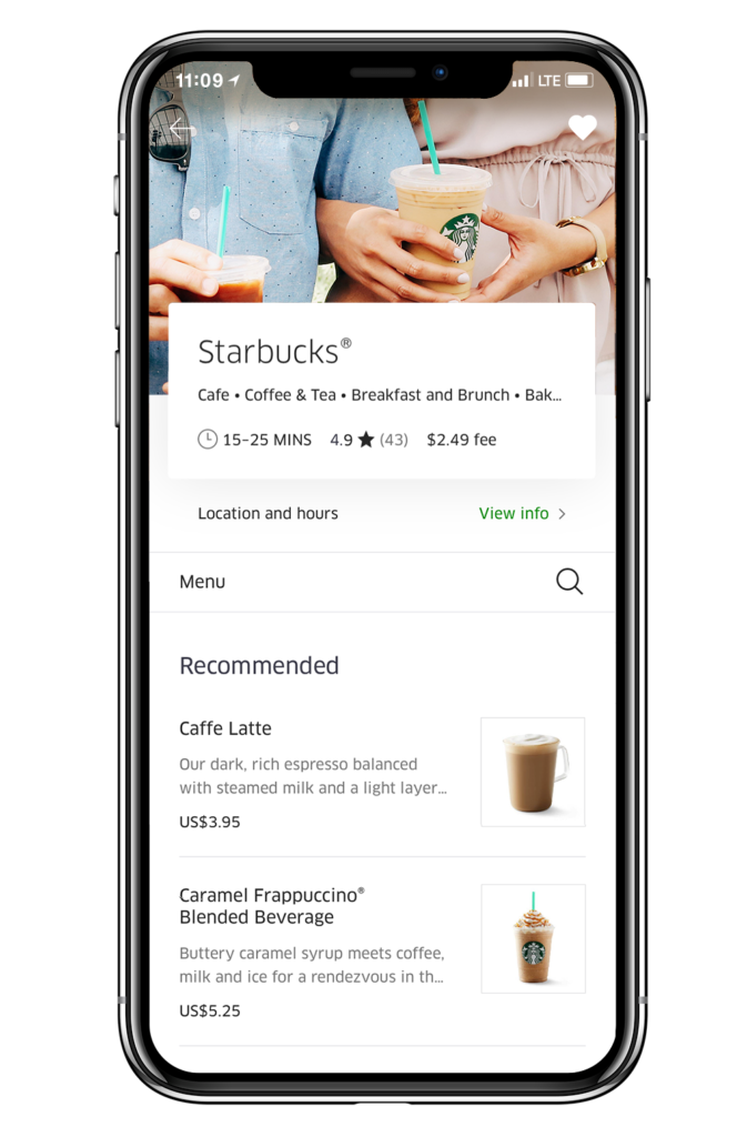 Screenshot of Starbucks on Uber Eats apps
