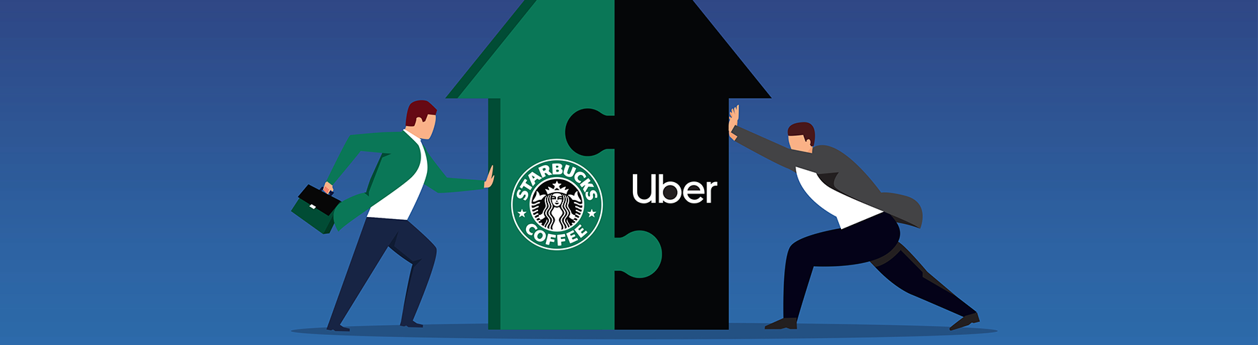 Illustration of two people pushing against a large green and black arrow, marked with a Starbucks and Uber logo