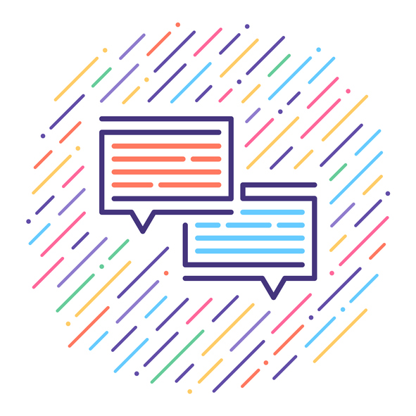 Graphic of two speech bubbles surrounded by multicolored lines