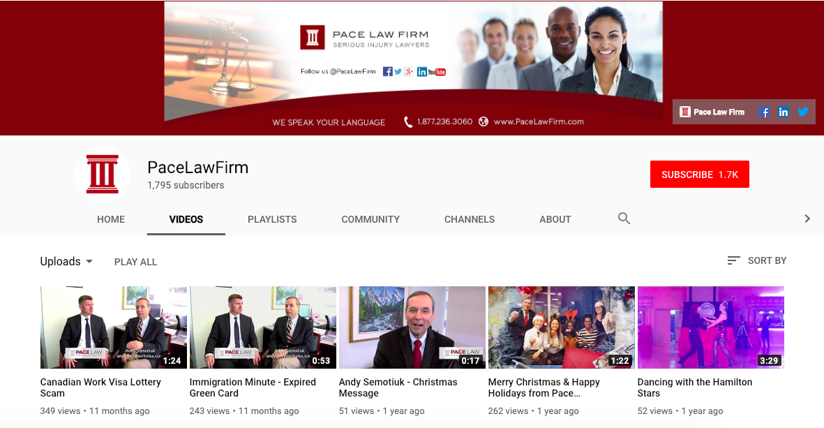 Screenshot from YouTube channel of Pace Law Firm