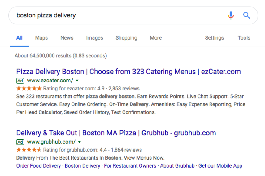 "Screenshot of Google search for ""boston pizza delivery"""