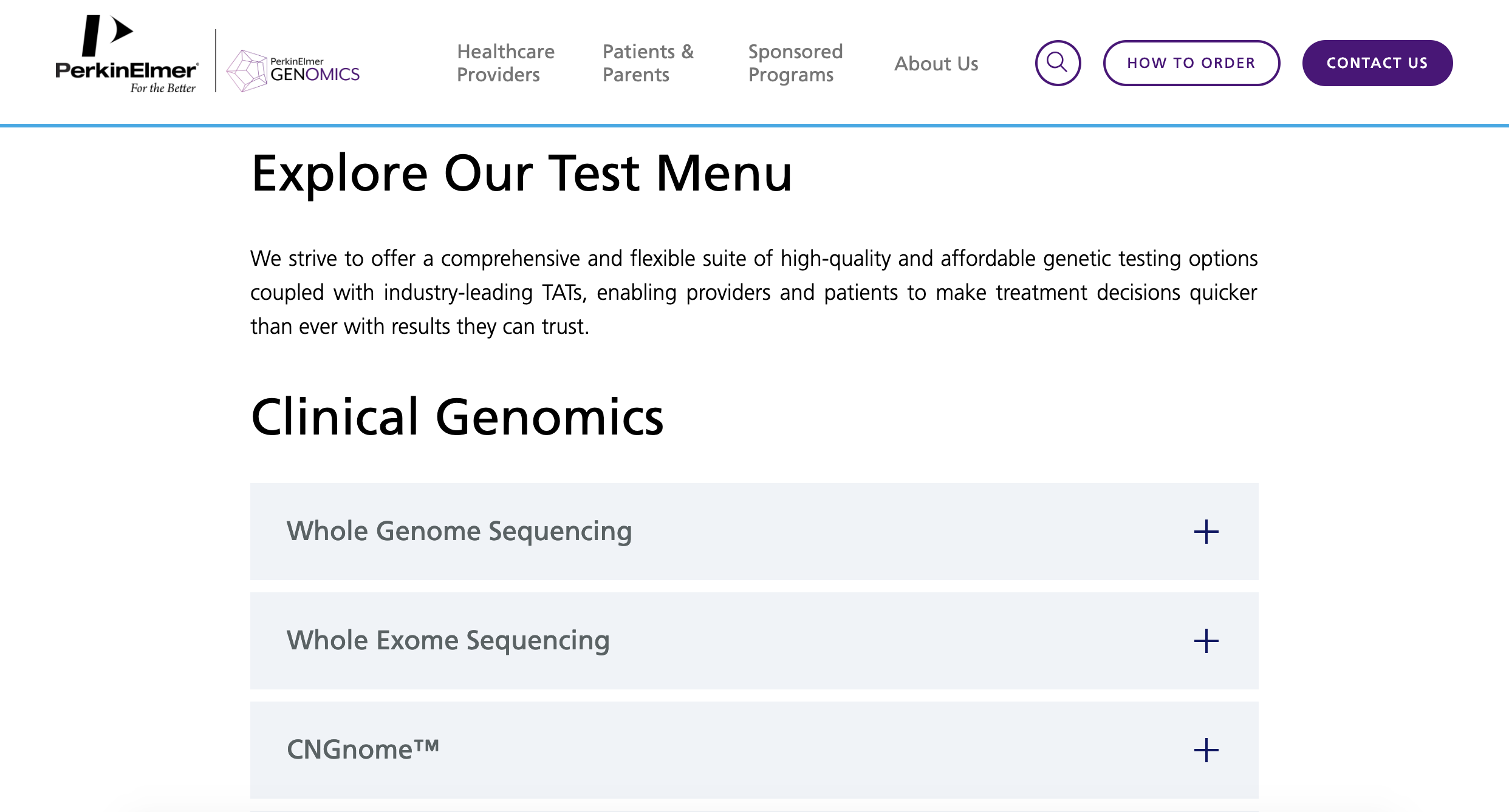 Screenshot of Perkin Elmer Genomics website