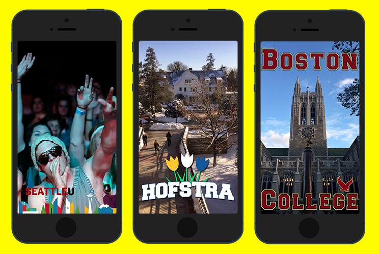 Mockup of Snapchat Geo-filters from universities