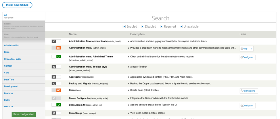 Screenshot of Drupal 7 folders and inventory