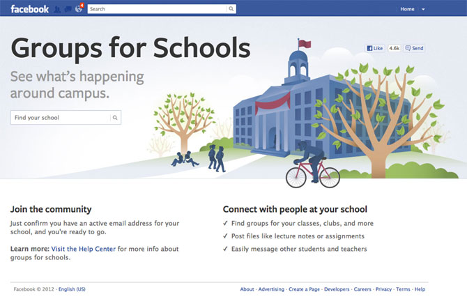 Screenshot of Facebook school group creation page