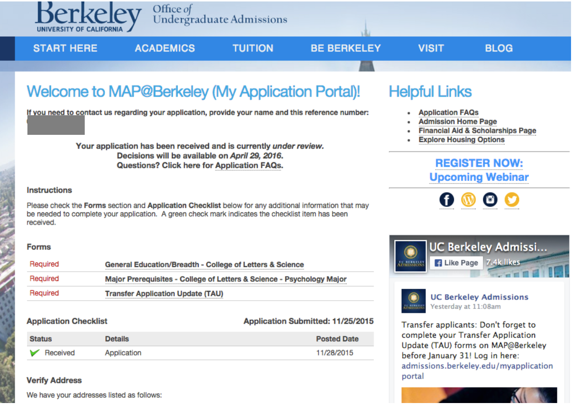 Berkeley application portal screenshot