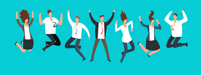 Illustration of employees jumping happily in the air