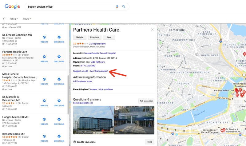 Screenshot of Google search results for boston doctors office