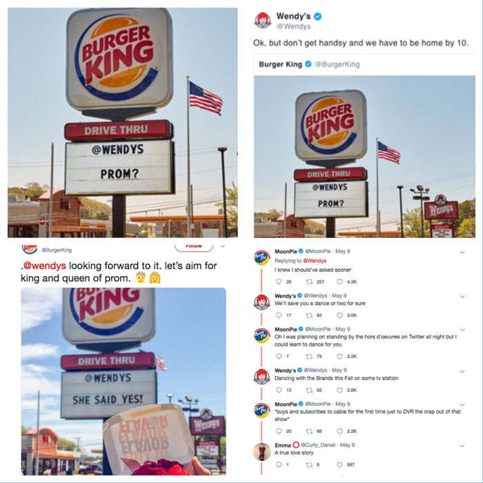 Screenshots of Wendys and burger king twitter