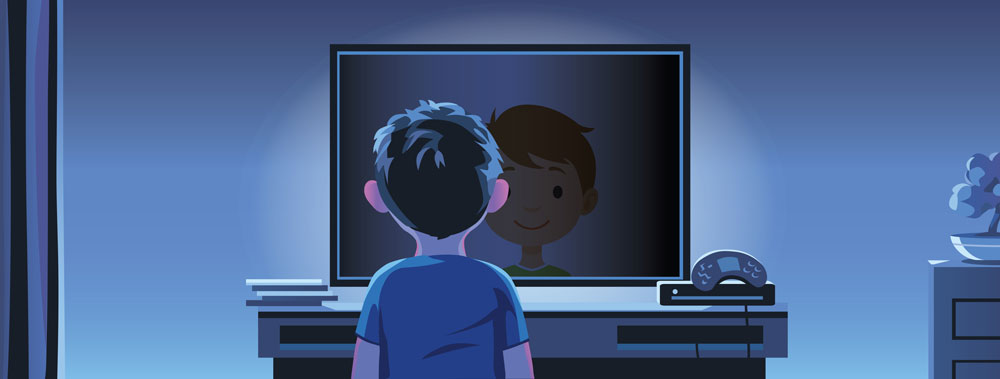Illustration of young boy looking into a TV screen with his smiling reflection
