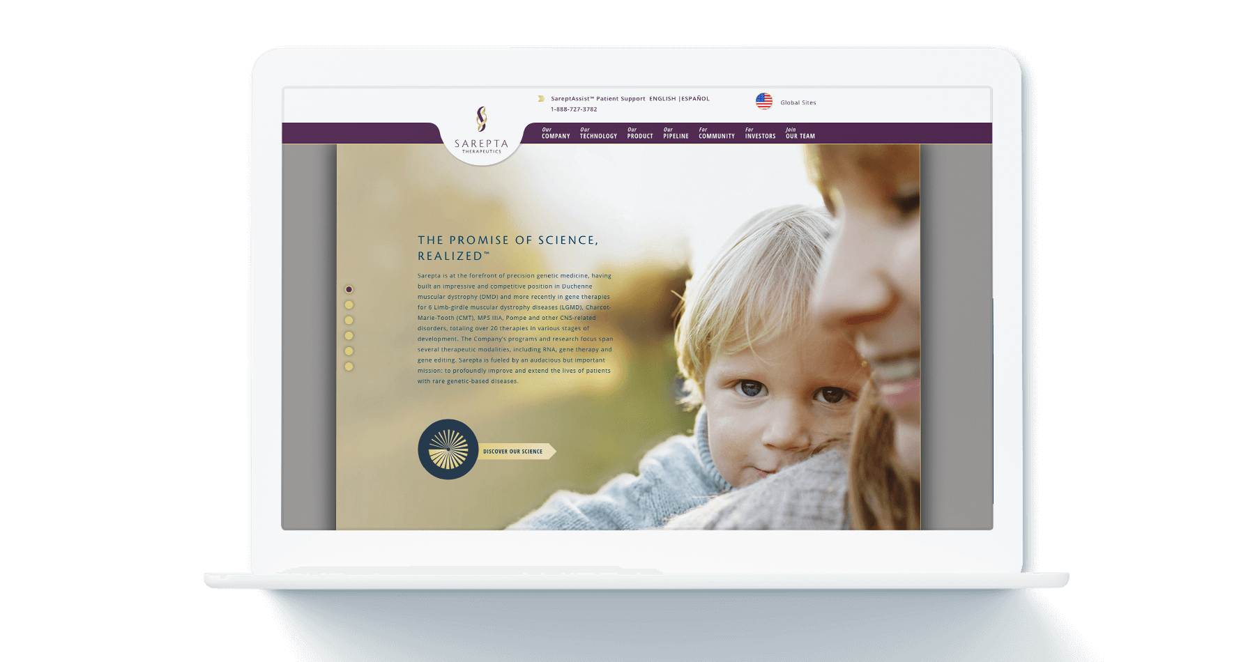 Sarepta Therapeutics website on laptop