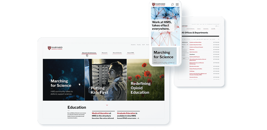 Harvard Medical site mockup on tablets and mobile