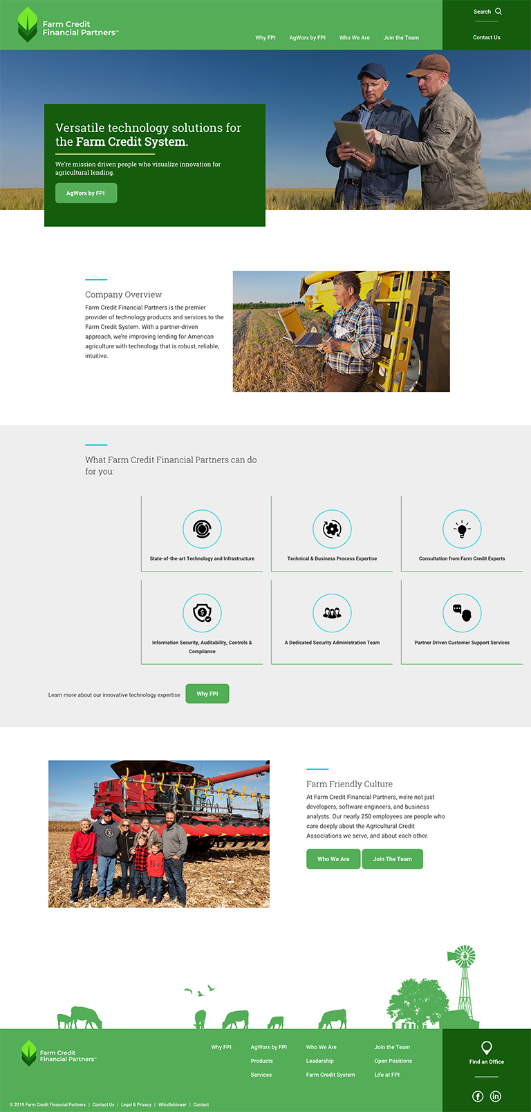 Screenshot of Farm Credit Financial Partners homepage