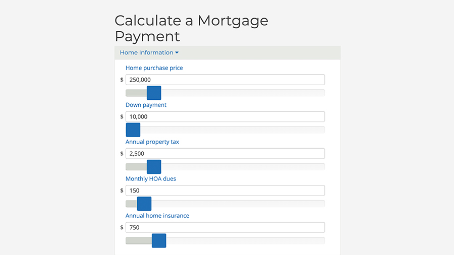 Screenshot of mortgage payment calculator on Cape Cod 5 site