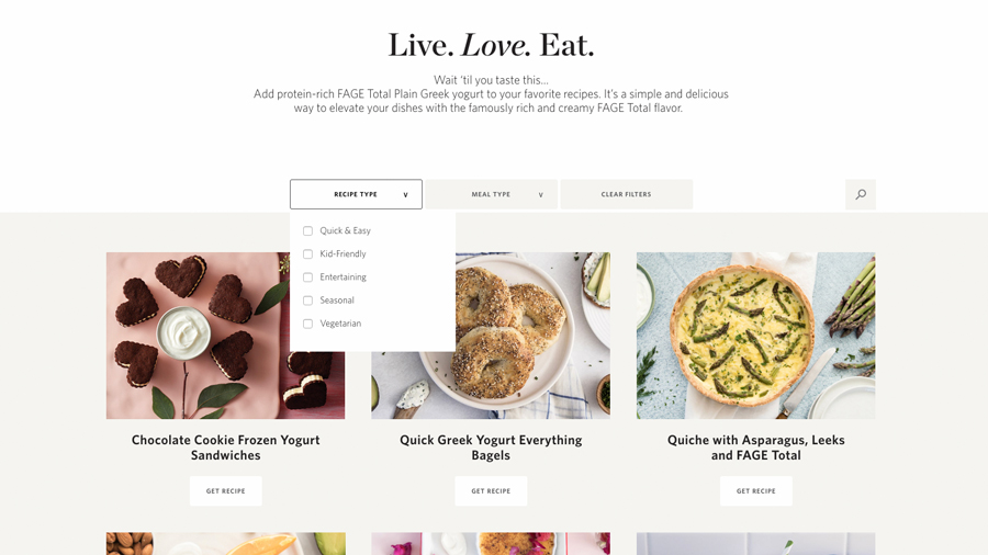 Screenshot of recipes page on FAGE website