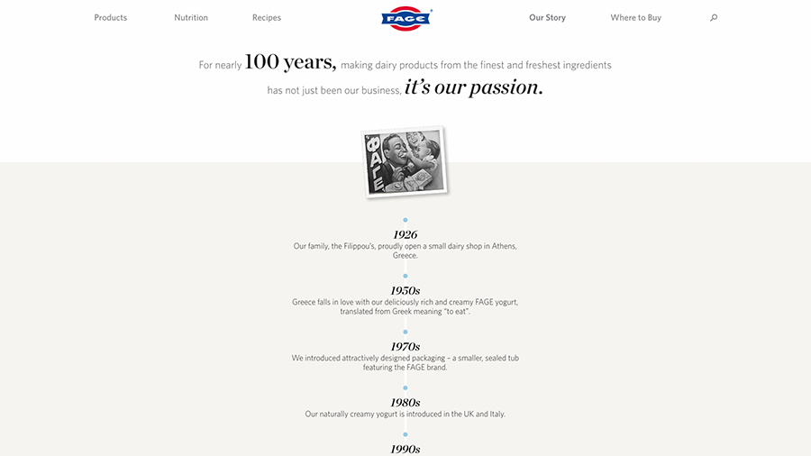 Screenshot of history page on FAGE's website