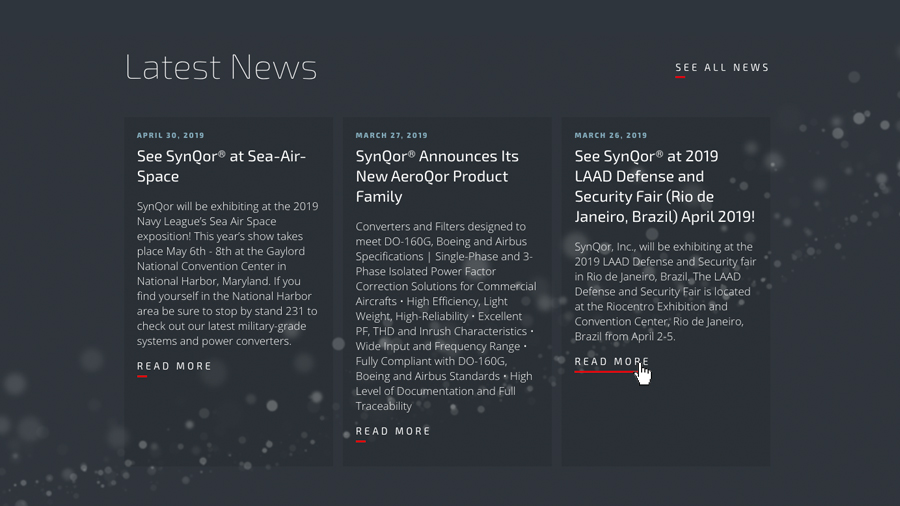 Screenshot of news page on SynQor site
