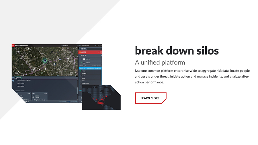 "Screenshot of Everbridge platform with headline ""break down silos"""