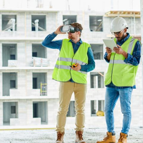 construction men with VR goggles