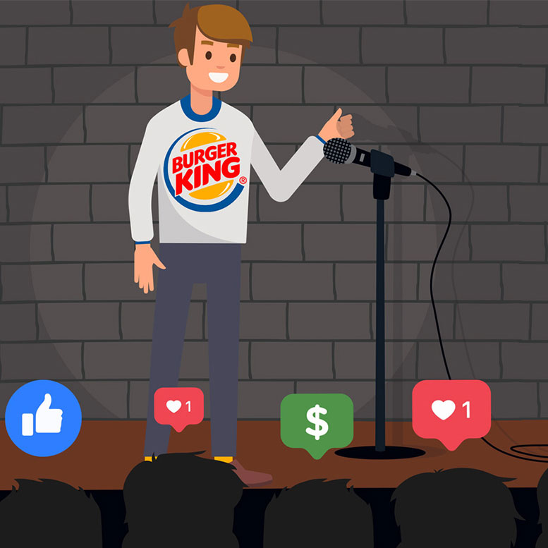Boy wearing a burger king shirt talking into a microphone doing a stand up comedy act.