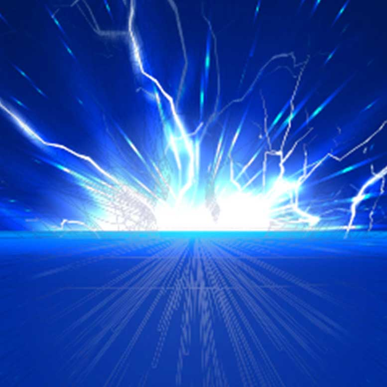 Electric shock on a blue background